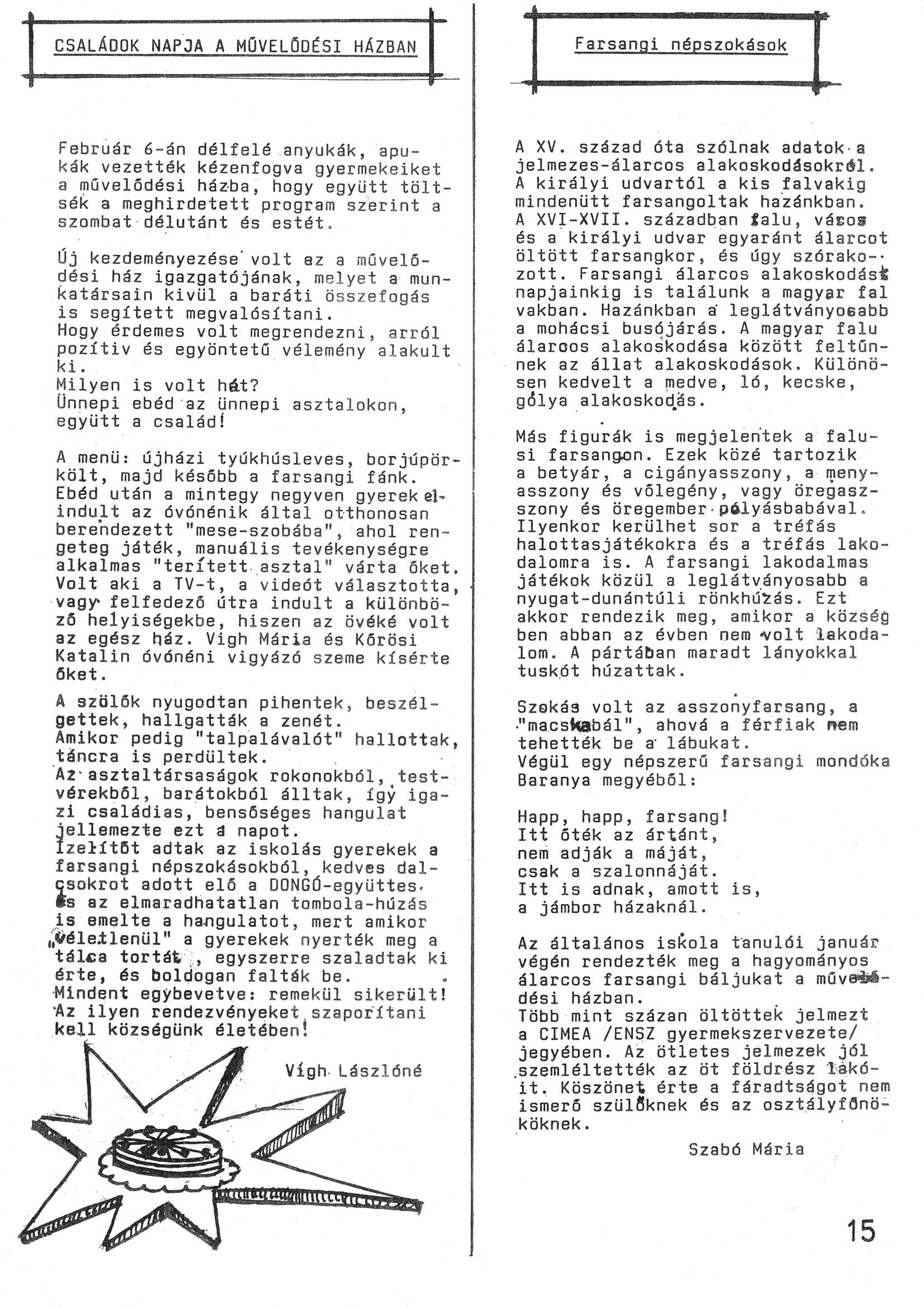 Szegvári Napló 001. lapszám – 1988. – 15. oldal – Digitalizá