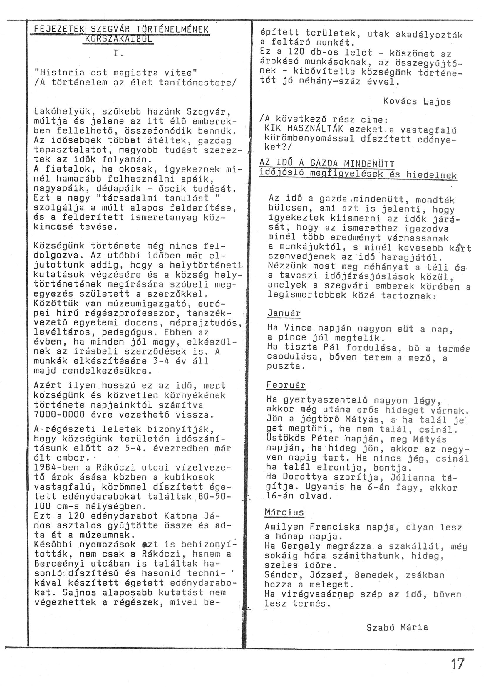 Szegvári Napló 001. lapszám – 1988. – 17. oldal – Digitalizá